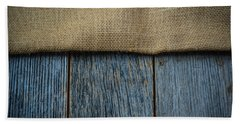 Burlap Texture On Wooden Table Background Bath Towel