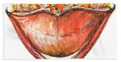 Bath Towel featuring the painting Burning Hot Lips by Teresa White