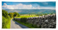 Hand Towel featuring the photograph Burren Country Road In Ireland's County Clare by James Truett