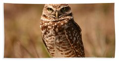 Bath Towel featuring the photograph Burrowing Owl Impressions by John F Tsumas