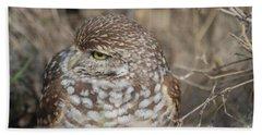 Burrowing Owl Hand Towel by Oksana Semenchenko