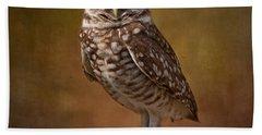 Burrowing Owl Portrait Bath Towel