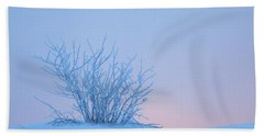 Bush In Snow In Morning Vosges France Bath Towel