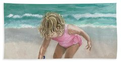 Busy Beach Girl Hand Towel