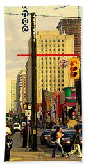 Busy Downtown Toronto Morning Cross Walk Traffic City Scape Paintings Canadian Art Carole Spandau Hand Towel