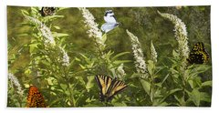 Hand Towel featuring the photograph Butterflies In Golden Garden by Belinda Greb