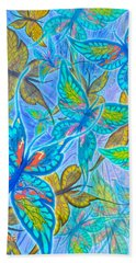 Bath Towel featuring the mixed media Butterflies On Blue by Teresa Ascone
