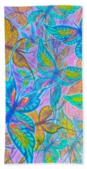 Bath Towel featuring the mixed media Butterflies On Lilac by Teresa Ascone