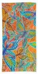 Bath Towel featuring the painting Butterflies On Tangerine by Teresa Ascone
