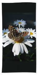 Butterfly And Shasta Daisy - My Spring Garden Hand Towel