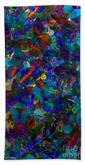 Hand Towel featuring the photograph Butterfly Collage Blue by Robert Meanor