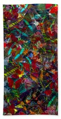 Hand Towel featuring the photograph Butterfly Collage Red by Robert Meanor