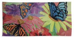 Bath Towel featuring the painting Butterfly Garden by Ellen Levinson