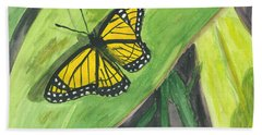 Hand Towel featuring the painting Butterfly In Vermont Corn Field by Donna Walsh
