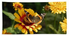 Butterfly On Flower Bath Towel by Charles Beeler