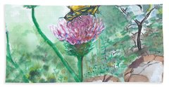 Butterfly On Flower  Hand Towel