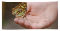 Bath Towel featuring the photograph Butterfly On Hand by Leticia Latocki