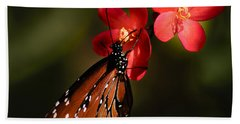Butterfly On Red Blossom Bath Towel