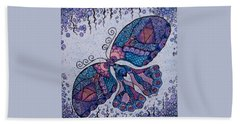 Hand Towel featuring the drawing Butterfly Tangle 2 by Megan Walsh