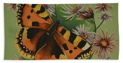 Bath Towel featuring the painting Butterfly With Asters by Donna Blossom