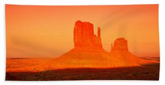 Buttes At Sunrise, The Mittens Bath Towel