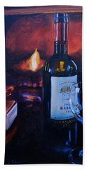 By The Fire Hand Towel by Donna Tuten