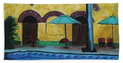 Bath Towel featuring the painting By The Poolside by Jeanne Fischer
