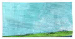 By The River- Abstract Landscape Painting Bath Towel