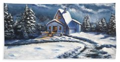 Cabin At Night Hand Towel by Bozena Zajaczkowska