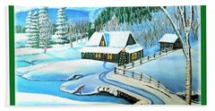 Bath Towel featuring the painting Cabin Fever At Christmastime by Kimberlee Baxter