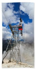 cableway in Italian Dolomites Bath Towel by Antonio Scarpi