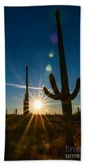 Cactus Flare - Sunrise At Saguaro National Park Bath Towel