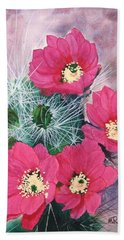 Cactus Flowers I Bath Towel by Mike Robles
