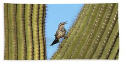Cactus Wren On Saguaro Arizona Hand Towel