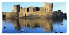 Bath Towel featuring the photograph Caerphilly Castle by Vicki Spindler