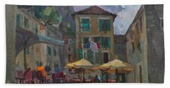 Cafe In Old City Hand Towel