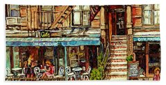 Cafe Mogador Moroccan Mediterranean Cuisine New York Paintings East Village Storefronts Street Scene Bath Towel