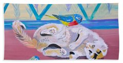 Hand Towel featuring the painting Calico And Friends by Phyllis Kaltenbach