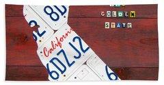 California License Plate Map Hand Towel