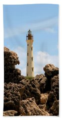 California Lighthouse Aruba Bath Towel by DJ Florek