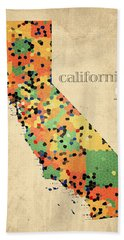 California Map Crystalized Counties On Worn Canvas By Design Turnpike Hand Towel