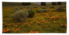 California Poppies In The Antelope Valley Bath Towel by Nina Prommer