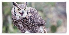 Bath Towel featuring the photograph Call Of The Owl by Dan McManus