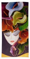 Hand Towel featuring the painting Calla Lily Dame.. by Jolanta Anna Karolska