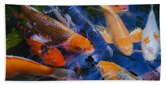 Bath Towel featuring the photograph Calm Koi Fish by Jerry Cowart