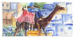 Hand Towel featuring the painting Camel Driver by Carol Wisniewski