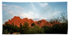 Camelback Mountain And Moon Hand Towel