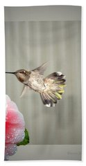 Hand Towel featuring the photograph Camellia And Hummer by Joyce Dickens