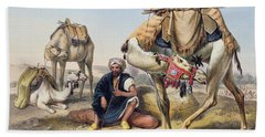 Camels Resting In The Sherkiyeh, Land Hand Towel