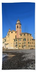 Hand Towel featuring the photograph Camogli Seaside And Church by Antonio Scarpi